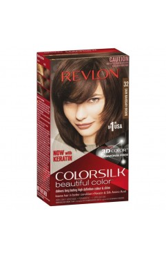 Revlon Colorsilk Beautiful Color Permanent 3D Hair Colour - 32 Dark Mahogany Brown (3 Units )