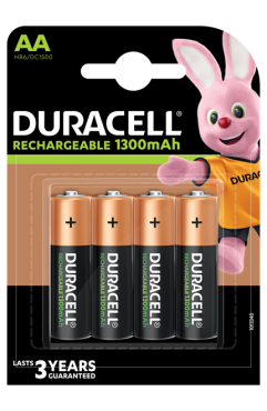 Duracell Rechargeable AA  1300 mAh Batteries, Pack of 4  ( Each )