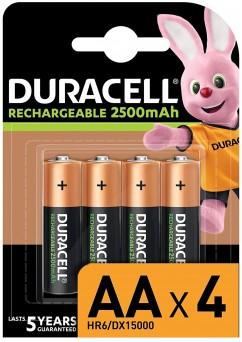 Duracell Rechargeable AA 2500 mAh Batteries, Pack of 4 (Each)