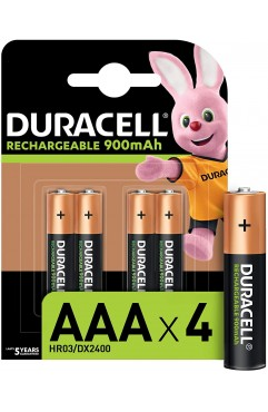 Duracell Rechargeable AAA 900 mAh Batteries, Pack of 4 (Each )