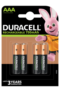 Duracell Rechargeable AAA 750 mAh Batteries, Pack of 4 (Each )