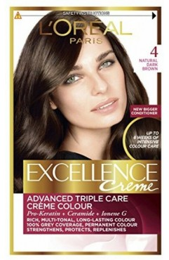 L'OREAL Excellence Creme Hair Dye Colour - Natural Dark Brown 4 - (6 Units)