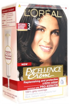 L'OREAL Excellence Creme Hair Dye Colour - Natural Darkest Brown 3 (6 Units)