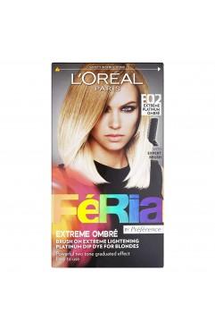 L'Oréal Feria Ombre Dip Dye Hair Colour For Blondes E02 Extreme Platinum Ombre (6 Units )