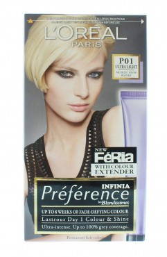 L'Oreal Feria Permanent Hair Colour - P01 Ultra Light/ Metallic Silver Blonde (6 Units )