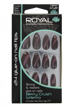 Royal 24 Berry Crush Stiletto Nail Tips with 3g Glue (6 Units )