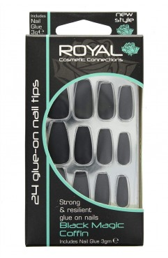 Royal  24 Black Magic Coffin Nail Tips with 3g Glue (6 Units )