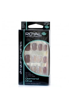 Royal  24 Diamond Diva Nail Tips with 3g Glue ( 6 Units )