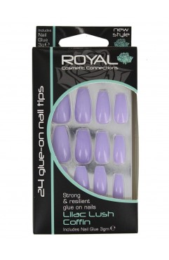 Royal 24 Lilac Lush Coffin Nail Tips with 3g Glue (6 Units)
