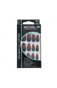 Royal 24 Fire Light Stiletto Nail Tips with 3g Glue (6 Units )
