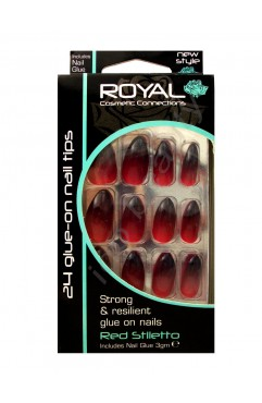 Royal  24 Red Stiletto Nail Tips with 3g Glue - (6 Units )
