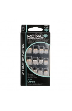 Royal  24 Art Deco Nail Tips with 3g Glue - (6 Units )