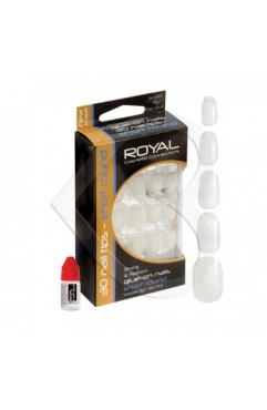 Royal 30 Short Round Nail Tips with 3g glue (6 Units )